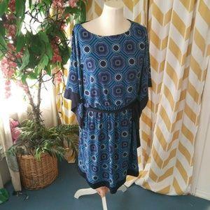 Dress Barn Ladies Sz XL Blue Medallion Print dress